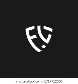 FL monogram logo with shield shape design template