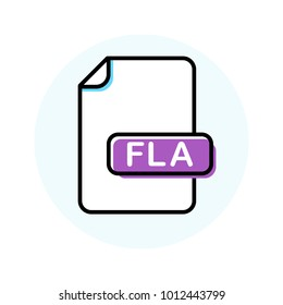 FLA file format, extension color line icon. Vector illustration