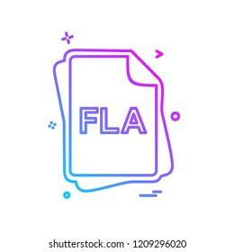 FLA file type icon design vector