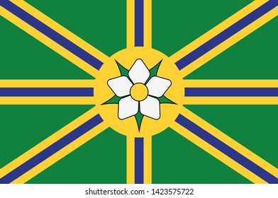 Flag of Abbotsford is a city located in British Columbia, adjacent to the Canada–United States border, Greater Vancouver and the Fraser River. Vector illustration