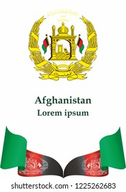 Flag of Afghanistan, Islamic Republic of Afghanistan. template for award design, an official document with the flag of Afghanistan. Bright, colorful vector illustration