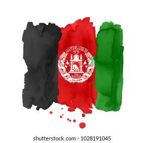 Flag of Afghanistan made of brush strokes. Vector illustration on white background. Elements for design.