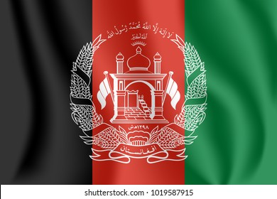 Flag of Afghanistan. Realistic waving flag of Islamic Republic of Afghanistan. Fabric textured flowing flag of Afghanistan.