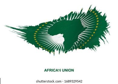 Flag of African Union in grunge style with waving effect, vector grunge brush stroke flag.