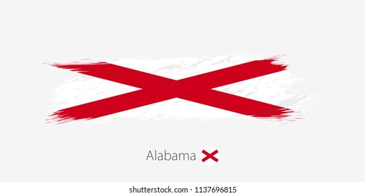 Flag of Alabama US State, grunge abstract brush stroke on gray background.Vector illustration.