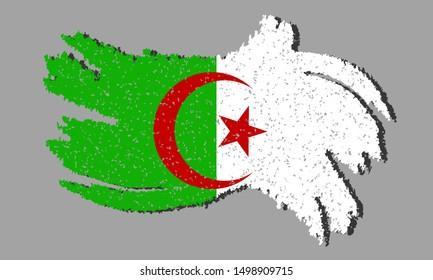 Flag of Algeria grunge flag of Algeria with shadow isolated on background, vector illustration