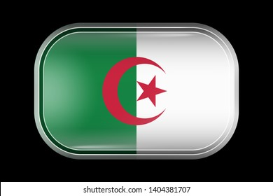 Flag of Algeria. Matted Vector Icon. Vector Rectangular Shape with Rounded Corners