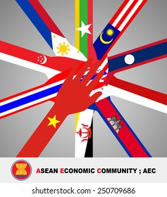 Flag of all southeast asia nation lay on open hand and join in the middle of picture on gray gradient background.(EPS10 vector separate part by part)