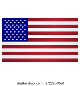 Flag of America in exact execution. The flag of a great country in colorful original colors. Vector illustration. Stock Photo.