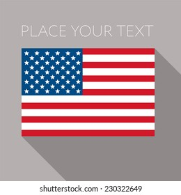 Flag of America - Stars and stripes - flat banner - National flag of the USA on flagpole, vector illustration. Grey background and place for your text.