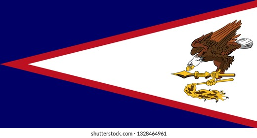 Flag of American Samoa is an unincorporated territory of the United States located in the South Pacific Ocean, southeast of Samoa. Vector illustration