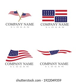 Flag american vector icon illustration design template
