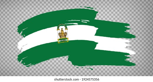 Flag of Andalusia brush strokes. Flag Autonomous Community Andalusia and Leon on transparent background for your web site design, app, UI. Kingdom of Spain. Stock vector.  EPS10.