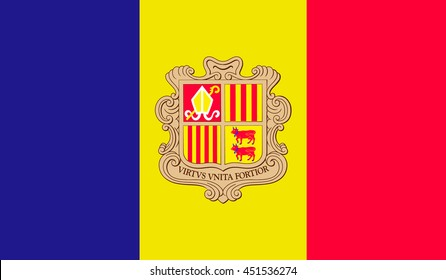 Flag of Andorra. Vector. Accurate dimensions, element proportions and colors