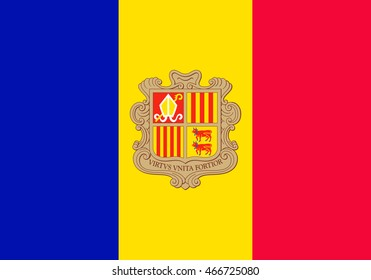 Flag of Andorra. Vector. Accurate dimensions, elements proportions, colors and quality.