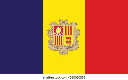 flag of andorra vector icon illustration eps10