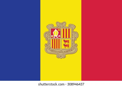 Flag of the Andorra. Vector illustration.