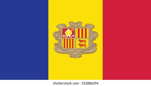 Flag of Andorra , Vector Illustration
