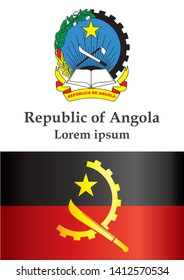 Flag of Angola, Republic of Angola. Template for award design, an official document with the flag of Angola. Bright, colorful vector illustration.