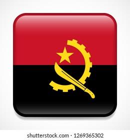 Flag of Angola. Square glossy badge
