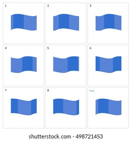 Flag animation. Vector illustration sprite sheet sequence waving flag