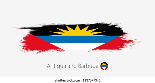 Flag of Antigua and Barbuda, grunge abstract brush stroke on gray background. Vector illustration.