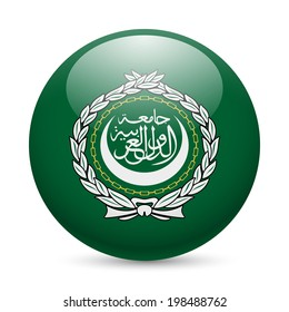 Flag of Arab League as round glossy icon. Button with flag design