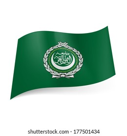 Flag of Arab League: seal on green background
