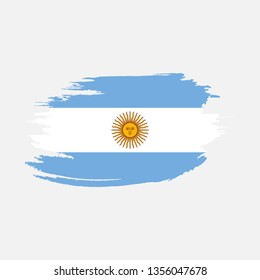 Flag of Argentina With Brush stroke Effect,  Argentina flag template design