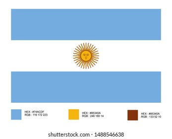 Flag of Argentina Isolated on White Background With Color Codes