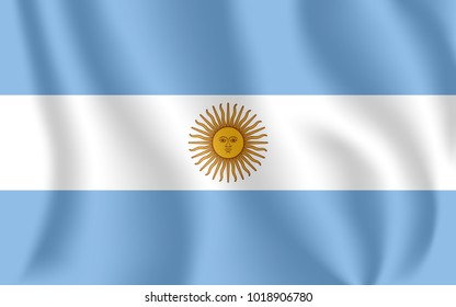 Flag of Argentina. Realistic waving flag of Argentine Republic. Fabric textured flowing flag of Argentina.