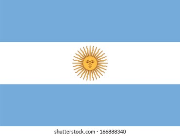 Flag of Argentina. Vector. Accurate dimensions, element proportions and colors.