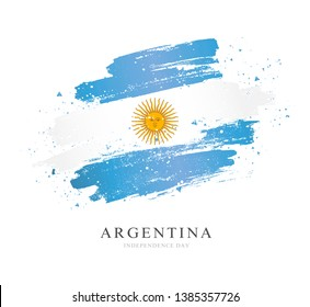 Flag of Argentina. Vector illustration on white background. Brush strokes drawn by hand. Independence Day.