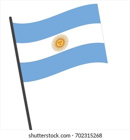 Flag of argentina , argentina flag waving isolated vector illustration