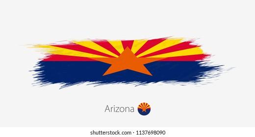 Flag of Arizona US State, grunge abstract brush stroke on gray background.Vector illustration.