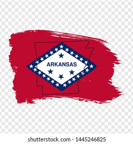 Flag of Arkansas from brush strokes and Blank map of Arkansas. United States of America. High quality map Arkansas and flag on transparent background. Stock vector. Vector illustration EPS10.
