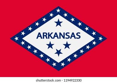 Flag of Arkansas is a state in United States. Vector illustration