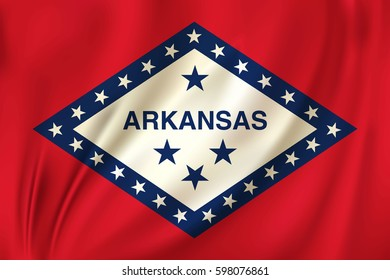 Flag of Arkansas state of the United States. Vector illustration. Waving in the wind on silk background