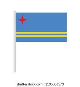 Flag of Aruba.Aruba Icon vector illustration,National flag for country of Aruba isolated, banner vector illustration. Vector illustration eps10.