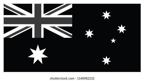 Flag of Australia in black and white Illustration vector.