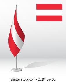 flag of Austria on flagpole for registration of solemn event, meeting foreign guests. National independence day of Austria. Realistic 3D vector on white