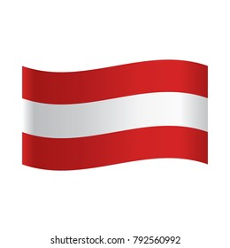 Flag of Austria. Vector Illustration, National flag of Austria: white horizontal stripe between red ones.