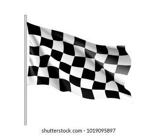 Flag auto racing, waving realistic banner. Symbol of start and finish of race cars on route. Vector illustration of chess canvas