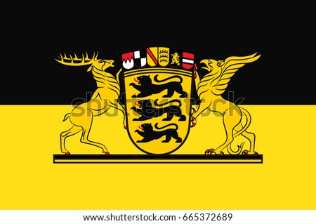 Flag Baden Wuerttemberg State Germany Located Southwest Stock Vector