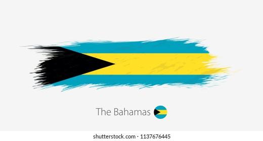 Flag of The Bahamas, grunge abstract brush stroke on gray background. Vector illustration.