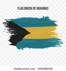 Flag Of Bahamas in texture brush  with transparent background, vector illustration in eps file