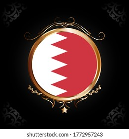 Flag of Bahrain round icon with gold Circle Frame, badge or button. Bahrain national symbol. Vector illustration.