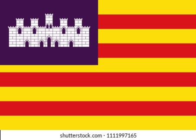 Flag of Balearic Islands are an archipelago of Spain. Vector illustration