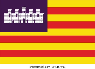 Flag of Balearic Islands or Islas Baleares autonomous communities of the Spain. Vector illustration.