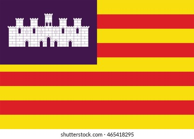 Flag of Balearic Islands or Islas Baleares autonomous communities of Spain. Vector illustration.